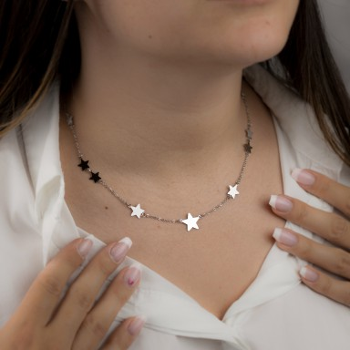 Necklace with BERGAMO stars in stainless steel