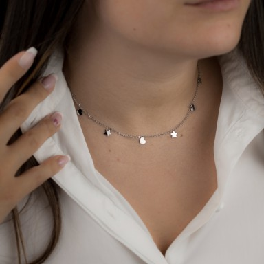 Necklace with stars and hanging hearts SENIGALLIA model in stainless steel