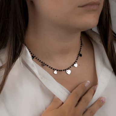 Choker with hanging hearts and black crystals LICATA model in stainless steel