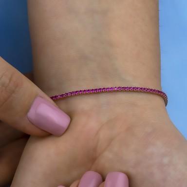 Fuchsia tennis bracelet in rhodium finish 925 silver