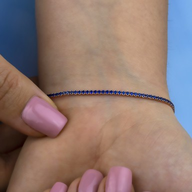 Blue tennis bracelet in rhodium finish 925 silver