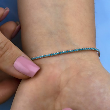 Turquoise tennis bracelet in 925 silver rose gold plated finish