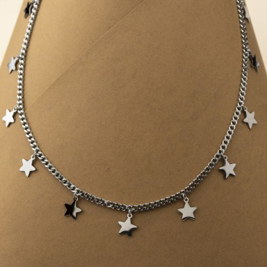 Necklace with stars BORMIO model in stainless steel