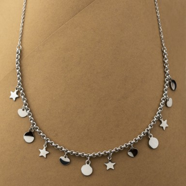 Necklace with stars VARESE model in stainless steel