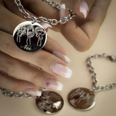 Three friends bracelet in stainless steel