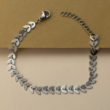 Leaves bracelet in stainless steel
