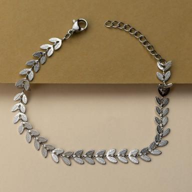 Leaves bracelet in stainless steel