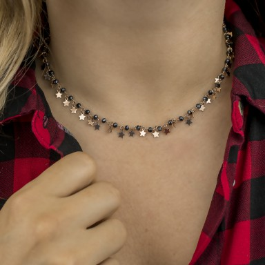 Necklace with hanging stars in 925 silver rose gold plated MIZAR model