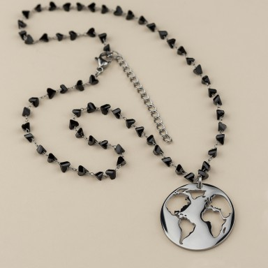 World necklace in stainless steel with black crystal necklace