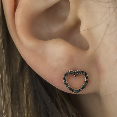 copy of Rose gold plated 925 silver heart with black zircons