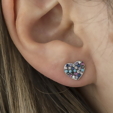 Single earring 925 silver heart with colored zircons
