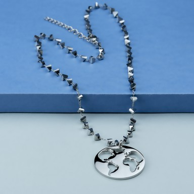 World necklace in stainless steel with silver crystal necklace
