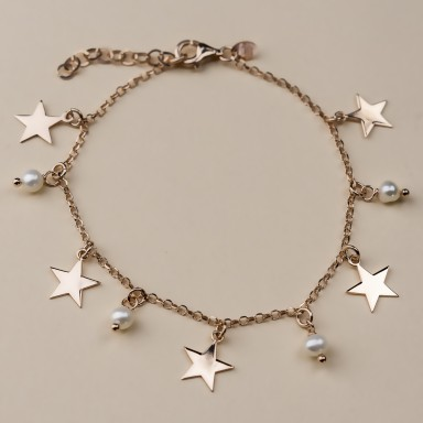 """Bracciale stelline in argento 925 placcato oro rosa modello """"BRACKEN"""""""