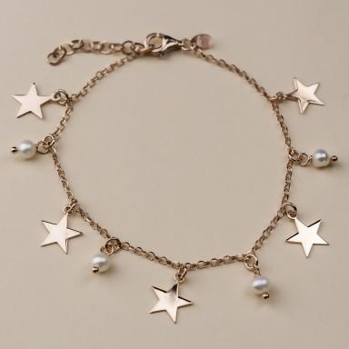 """""""BRACKEN"""" model bracelet in rose gold plated 925 silver stars"""
