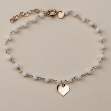 """SNOWDROP"" model bracelet in rose gold plated 925 silver heart"