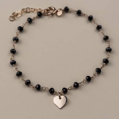 """BUTTERCUP"" model bracelet in rose gold plated 925 silver heart"