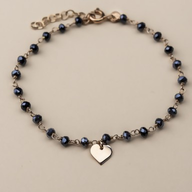 """CHRYSANTHEMUM"" model bracelet in rose gold plated 925 silver heart"