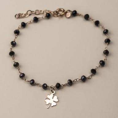 """DAHLIA"" model bracelet in rose gold plated 925 silver quatrefoil"