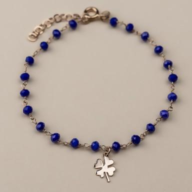 """""""BLUEBELL"""" model bracelet in rose gold plated 925 silver quatrefoil"""