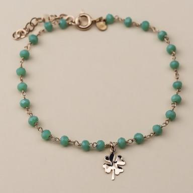 """WATERLILY"" model bracelet in rose gold plated 925 silver quatrefoil"