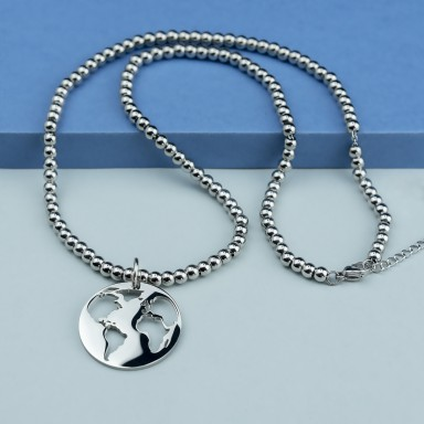 World necklace in stainless steel with balls