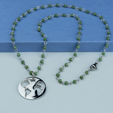 World necklace in stainless steel with green crystal necklace