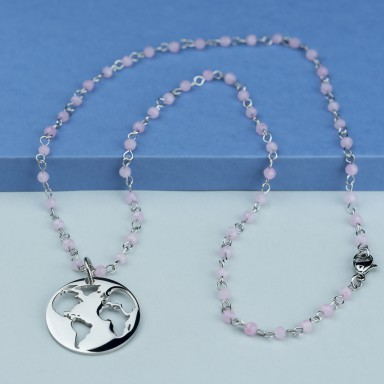World necklace in stainless steel with pink crystal necklace