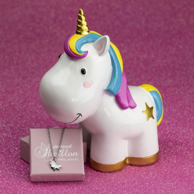 Unicorn piggy bank with stainless steel necklace