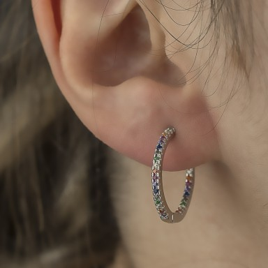 Single hoop 20 mm 925 silver with colorful cubic zirconia