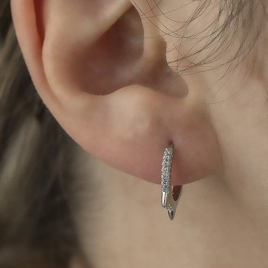 Single 14 mm 925 silver headband with white zircons and studs