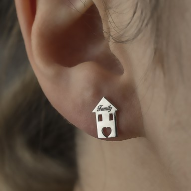 Single family house earring in rhodium-plated 925 silver