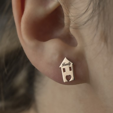 Single family house earring in pink 925 silver