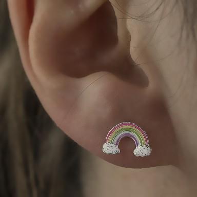 Pair of classic rainbow lobe earrings in 925 silver