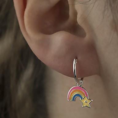 Pair of rainbow star hoop earrings in 925 silver