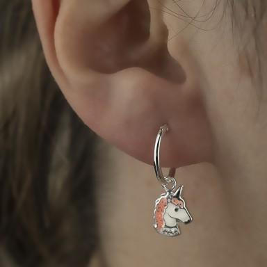 Pair of unicorn earrings in 925 silver
