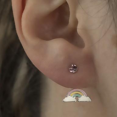 Pair of rainbow lobe earrings in 925 silver