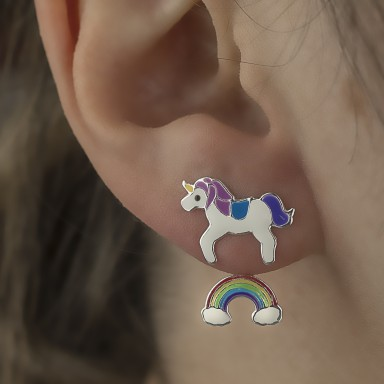 Pair of rainbow unicorn lobe earrings in 925 silver