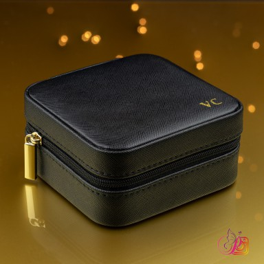 Black jewelry box customizable in eco leather