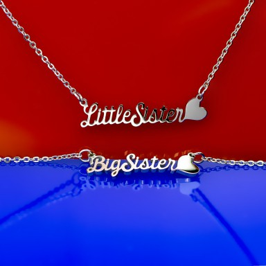 Pair of Little and Big Sister necklaces in stainless steel