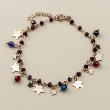 """FOXGLOVE"" model bracelet in rose gold plated 925 silver stars"