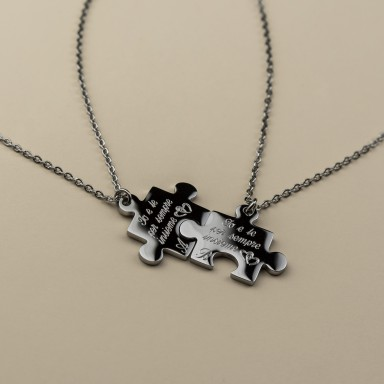 Pair of customizable PUZZLE necklaces in stainless steel