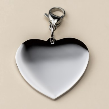 Heart charm 32 mm in stainless steel