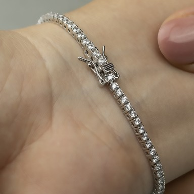 Tennis in 925 rhodium silver with zircons