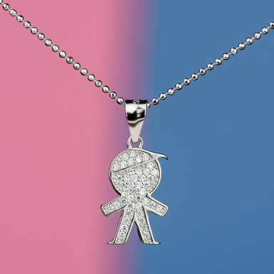 Baby boy necklace in 925 silver with zircons