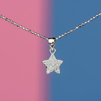 Star necklace in 925 silver with zircons