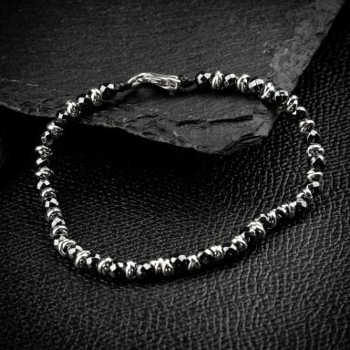 925 silver knots bracelet with hematite