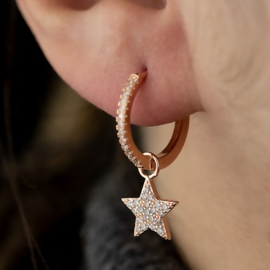 Single pink 925 silver hoop with star with cubic zirconia