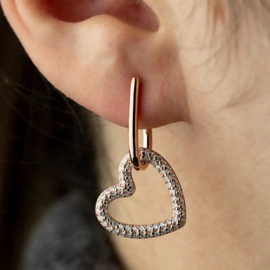 Single pink 925 silver earring with pendant heart with zircons