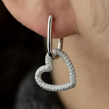 Single 925 silver earring with pendant heart with zircons