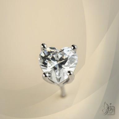 Single lobe earring 925 silver heart with white zircon